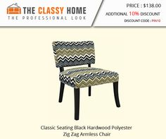 Classic Seating Black Hardwood Polyester Zig Zag Armless Chair