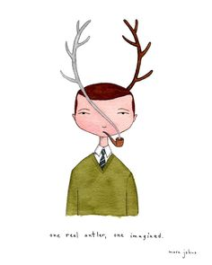 Poster | ONE REAL ANTLER ONE IMA von Marc Johns | more posters at http://moreposter.de