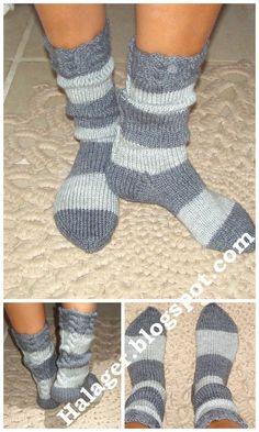Halager: Opskrift på strikkede strømper pind 4½