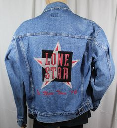 1fcd2a41ea5 Lone Star Large Denim Jean Jacket 1996 No News Tour Whoa Apparel Made in  USA