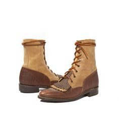 Women's Vintage Justin Roper Boots in Two Toned Chocolate and Butterscotch Leather for a Size 6 B. $98.00, via Etsy.
