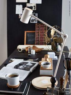 Black desk and accessories.