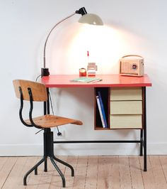 bureau, vintage, retro, formica, transistor, déco, style, enfant, lucinevintage