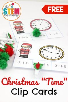 """The final Christmas countdown has begun so it's the perfect time to add some festive holiday activities to your math centers. These playful Santa clip cards are a motivating way to practice telling time to the hour and quarter hour. Students will love helping Santa tell time during """"Christmas time!"""" It's a perfect math center for first or second grade students this December! #christmasactivities #christmasfreebies #teachingtime #tellingtime"""
