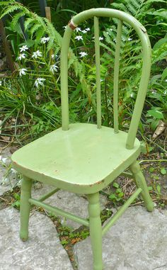 Bow Back Chair Wood Spindle Back Vintage Child by CasaKarmaDecor, $25.00