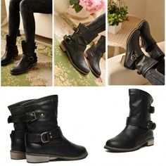 Fashion-Mid-Calf Flat Heel British Driving Short Boots
