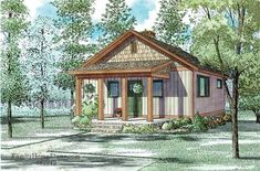 This lovely Cottage style home with Small House Plans influences (House Plan has 691 square feet of living space. The 1 story floor plan includes 2 bedrooms. Small Cottage House Plans, Small Cottage Homes, Small Cottages, Country Style House Plans, Cottage Plan, Small House Plans, Small Homes, Craftsman Cottage, Country Cottages