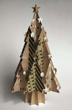 Alberi di Natale creativi - Cartone decorato