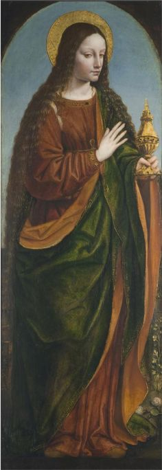 """Saint Mary Magdalene"" Panel from an altarpiece; other panels are in the Accademia Carrara, Bergamo; and a private collection. Bergognone (Ambrogio di Stefano da Fossano), Italian (active Lombardy), documented 1481 - 1522 Date: c. 1515 Medium: Oil on panel Dimensions: 49 1/8 x 17 1/16 inches (124.8 x 43.3 cm) Philadelphia Museum of Art"