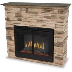 45 in. Electric Fireplace in Black/Faux Stone