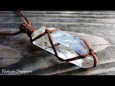 水晶ポイント包み編みネックレスの作り方【マクラメ編み】Crystal point Macrame necklace Tutorial - YouTube