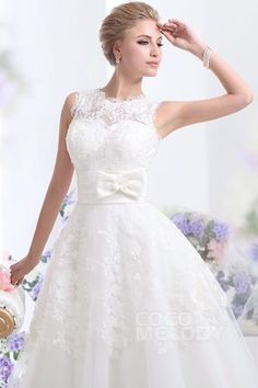 Pretty A-Line Natural Ankle Length Tulle Sleeveless Zipper Wedding Dress with Sashes CWZA14001
