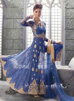 Light Blue Embroidery Sequins Work Stone Work Net Party Wear Anarkali Salwar Suit. Buy Online Shopping Salwar Suit At -FIJI http://www.angelnx.com/