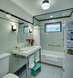 Good floor tile with border design Vintage apothecary bathroom - craftsman - Bathroom - New York - Tracey Stephens Interior Design Inc Apothecary Bathroom, Retro Bathrooms, House Bathroom, Vintage Bathrooms, Bathroom Styling, Simple Bathroom, Bathrooms Remodel, Bathroom Design, Craftsman Bathroom