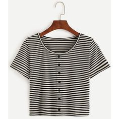Black White Striped T-shirt With Buttons (19 BRL) ❤ liked on Polyvore featuring tops, t-shirts, shirts, cropped, blouses, black and white, white and black striped shirt, stretch t shirt, short sleeve button shirt and black white striped shirt