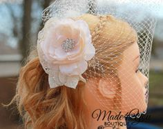 Champagne Birdcage Veil-Gold and Champagne by Made4YouBoutique