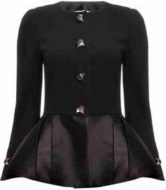 Wool and leather peplum jacket