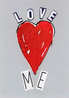 Original Heart Painting Collage , Ink and Watercolor Heart  Painting  handmade by Evartstudio