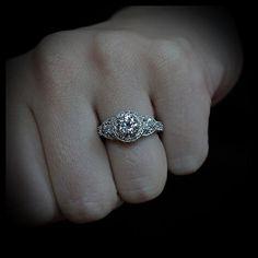 Three Stone Vintage Style Engagement Ring - Lauren