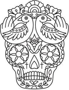 Embroidery Designs at Urban Threads - Pajaros y Calavera Mexican Embroidery, Embroidery Patterns, Hand Embroidery, Henna Patterns, Skull Coloring Pages, Coloring Book Pages, Color Mind, Candy Skulls, Sugar Skulls