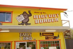 A Bigfoot burger sign is painted at the top of the Early Bird restaurant in Willow Creek, Calif., on Saturday, May 2, 2015.  (LiPo Ching/Bay Area News Group)