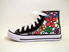 canvas shoes with painted flowers Painted Converse, Painted Sneakers, Canvas Sneakers, Custom Chuck Taylors, Converse Low Tops, Custom Converse, Big Flowers, High Top Sneakers, Fashion Shoes