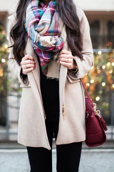 #fall #fashion / cream coat + scarf
