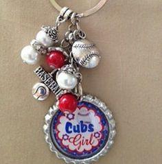 Chicago Cubs Baseball Inspired  Bottle Cap Charm  Key Chain Handmade