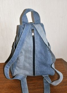 Items similar to Blue denim backpack on Etsy Diy Jeans, Recycle Jeans, Denim Backpack, Denim Bag, Mochila Jeans, Jean Diy, Denim Handbags, Stylish Backpacks, Denim Crafts