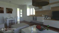 obývačka s kuchyňou 24 m2 Bungalov ROMA pre BYVAJLACNO.sk Table, Furniture, Home Decor, Homemade Home Decor, Mesas, Home Furnishings, Desk, Decoration Home, Tabletop