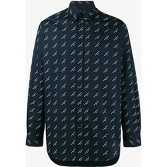 Balenciaga All Over Logo Shirt ($640) ❤ liked on Polyvore featuring men's fashion, men's clothing, men's shirts, men's casual shirts, blue, mens blue shirt, balenciaga mens shirts, mens extra long sleeve shirts and mens cotton shirts
