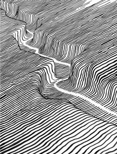Black and Night An exhibition of drawings and small paintings on paper by artists Brendan Monroe and Evah Fan. Shimokitazawa Opening / SAT-SUN / Brendan Monroe (USA) and Evah Fan (USA, Taiwan) are husband and wife artists based in Oakland, California Op Art, Stylo Art, Arte Sketchbook, 3d Drawings, Illusion Art, Small Paintings, Drawing Techniques, Line Drawing, Drawing Ideas