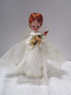 Vintage Music Box Silent Night Angel Red Head by junquegypsy