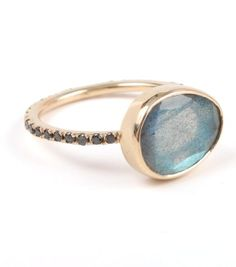 Clea Ring, Labradorite and Black Diamond