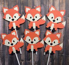 12 toppers de cupcake de Fox fox toppers por lilcraftychickadee