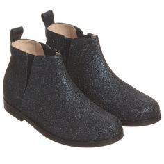 Il Gufo Girls Navy Blue Glitter Leather Ankle Boots at Childrensalon.com