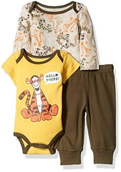 Disney Baby Boys 3Piece 2 Tigger Bodysuits with Pant Set Beige 36 Months >>> Details can be found by clicking on the image.