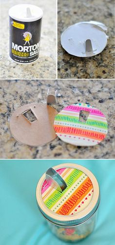 Mason Jar Crafts - 40 Things To Do With Mason Jars - Mason jar storage for little bits that has a salt jar spout.