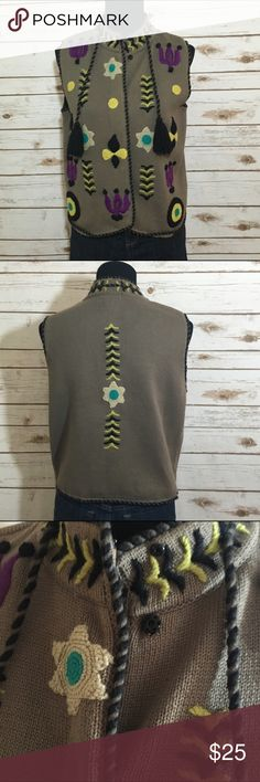 Funky vest Funky vest with fun design appliqués - good used condition, no stains or tears, make an offer or bundle to save! This brand is a couture boutique brand with the founder starting at barneys NY Jackets & Coats Vests