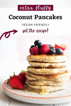 These vegan coconut flour pancakes are extra thick and fluffy, perfect with a handful of fresh berries and a drizzle of maple syrup. They are absolutely delicious, mixing coconut with banana and peanut butter, dairy free, refined sugar free and 100% vegan. #vegan #pancakes Vegan Banana Pancakes, Vegan Pancake Recipes, Coconut Flour Pancakes, Vegan Recipes Videos, Vegan Blogs, Flour Recipes, Dairy Free Breakfasts, Banana Coconut, Maple Syrup