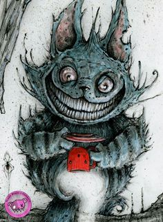 Creepy Drawings, Dark Art Drawings, Creepy Art, Cheshire Cat Drawing, Cheshire Cat Tattoo, Fantasy Kunst, Fantasy Art, Dark Fantasy, Arte Horror