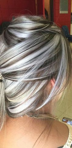 40 Absolutely Stunning Silver Gray Hair Color Ideas, These 40 absolutely stunni. - - 40 Absolutely Stunning Silver Gray Hair Color Ideas, These 40 absolutely stunning silver gray hair color ideas should not be considered as granny hair. Hair Color And Cut, Cool Hair Color, Blonde Hair With Color, Grey Hair Colors, Gray Color, Silver Hair Colors, Ombre Colour, Grey Hair With Black Tips, On Trend Hair Colour