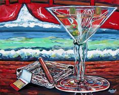 Cigar Man Cave Babe Beach Martini Original Art Painting Modern DAN BYL 4x5ft #Impressionism Original Art, Original Paintings, Pastel Pencils, Handmade Frames, Acrylic Painting Canvas, Simple Art, Artist Painting, Martini, Lovers Art