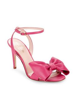 "<ul> <li>Sassy leather sandal sweetened by signature oversized bow</li> <li>Self-covered heel, 3.5""</li> <li>Leather upper</li> <li>Open toe</li> <li>Adjustable ankle strap</li> <li>Leather lining and sole</li> <li>Lightly padded insole</li> <li>Made in Italy</li> </ul>"