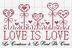 La Comtesse & Le Point De Croix: Waiting for love Cross Stitching, Cross Stitch Embroidery, Embroidery Patterns, Hand Embroidery, Cross Stitch Designs, Cross Stitch Patterns, Cross Stitch Freebies, Cross Stitch Heart, Christmas Cross