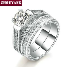 White Gold Plated Luxury 2 Rounds Bijoux Fashion Wedding Ring Set AAA  CZ Jewelry For Women As Chirstmas Gift