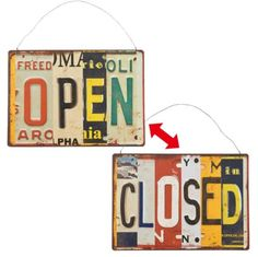 Gare Tinplate License Plate Design Metal Open Closed Sign