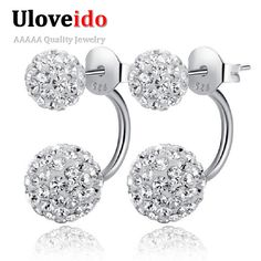 Find More Stud Earrings Information about 50% off Double Ball Women Earrings Sided Stud Earring Silver Plated Earings Fashion Jewelry Earing Valentine's Day Gift Ulove,High Quality jewelry earings,China jewelry earring display Suppliers, Cheap jewelry ss from ULOVE Fashion Jewelry on Aliexpress.com
