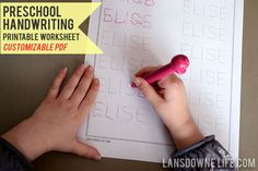 Preschool handwriting printable worksheet (Customizable PDF) — lansdownelife.com