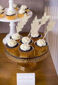 Chocolate Cupcakes for Aztec Birthday Party